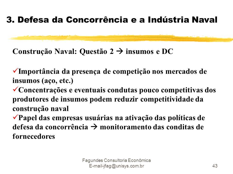 Fagundes Consultoria Econômica E-mail-jfag@unisys.com.br43 3. Defesa da Concorrência e a Indústria Naval Construção Naval: Questão 2  insumos e DC 
