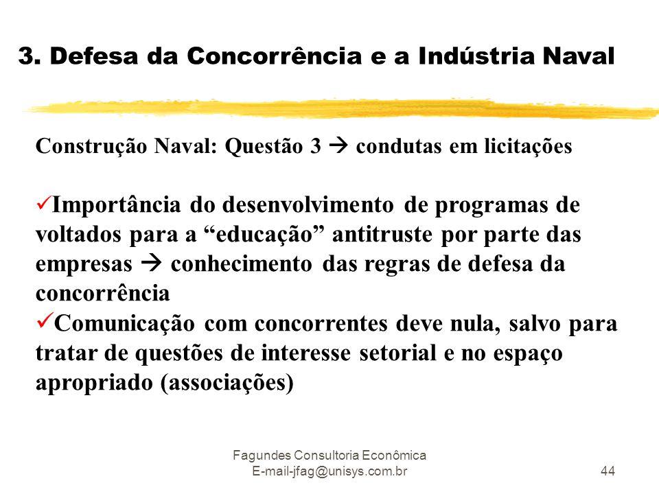 Fagundes Consultoria Econômica E-mail-jfag@unisys.com.br44 3. Defesa da Concorrência e a Indústria Naval Construção Naval: Questão 3  condutas em lic