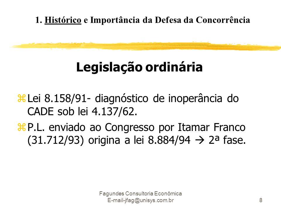 Fagundes Consultoria Econômica E-mail-jfag@unisys.com.br8 Legislação ordinária zLei 8.158/91- diagnóstico de inoperância do CADE sob lei 4.137/62. zP.