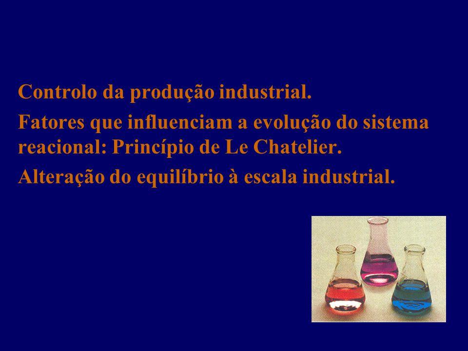 Controlo da produção industrial. Fatores que influenciam a evolução do sistema reacional: Princípio de Le Chatelier. Alteração do equilíbrio à escala