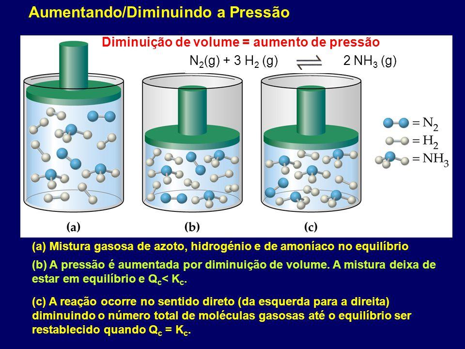 (a) Mistura gasosa de azoto, hidrogénio e de amoníaco no equilíbrio N 2 (g) + 3 H 2 (g) 2 NH 3 (g) (b) A pressão é aumentada por diminuição de volume.