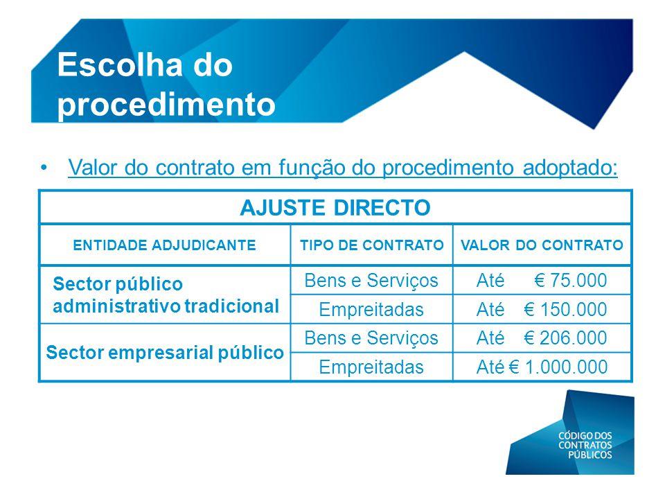 • Valor do contrato em função do procedimento adoptado: Escolha do procedimento AJUSTE DIRECTO ENTIDADE ADJUDICANTETIPO DE CONTRATOVALOR DO CONTRATO S