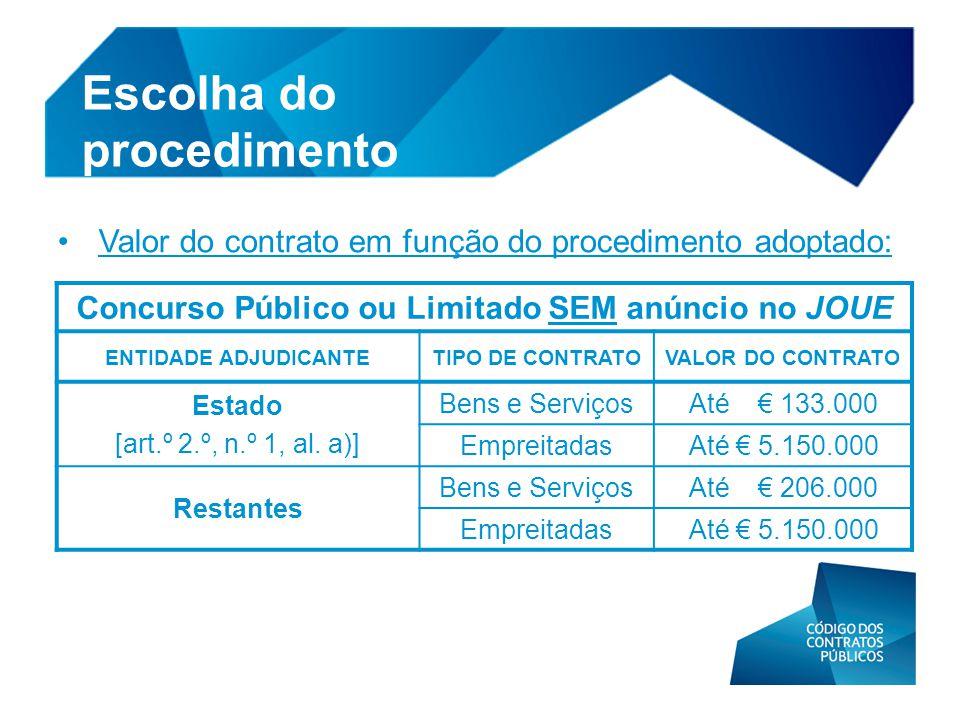 • Valor do contrato em função do procedimento adoptado: Escolha do procedimento Concurso Público ou Limitado SEM anúncio no JOUE ENTIDADE ADJUDICANTET