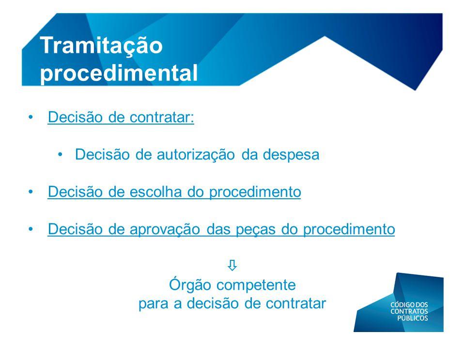 • Decisão de contratar: • Decisão de autorização da despesa • Decisão de escolha do procedimento • Decisão de aprovação das peças do procedimento  Ór