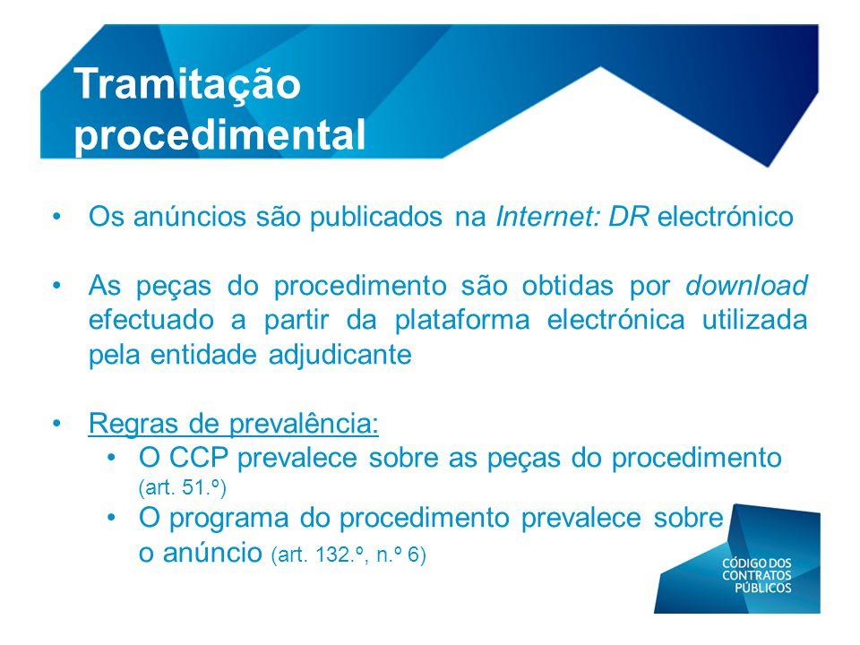 • Os anúncios são publicados na Internet: DR electrónico • As peças do procedimento são obtidas por download efectuado a partir da plataforma electrón