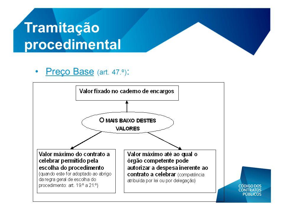 •Preço Base (art. 47.º) : Tramitação procedimental