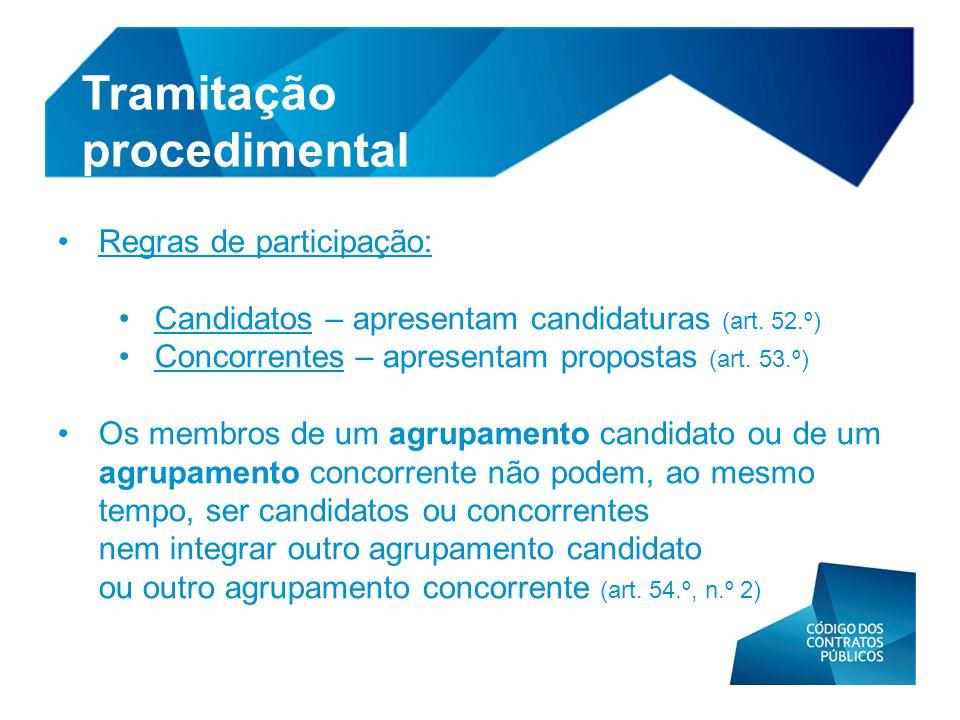 • Regras de participação: • Candidatos – apresentam candidaturas (art. 52.º) • Concorrentes – apresentam propostas (art. 53.º) • Os membros de um agru