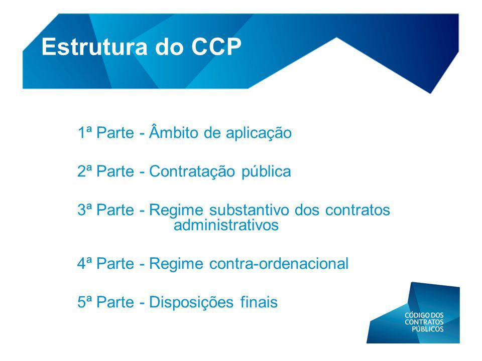 Estrutura do CCP 1ª Parte - Âmbito de aplicação 2ª Parte - Contratação pública 3ª Parte - Regime substantivo dos contratos administrativos 4ª Parte -