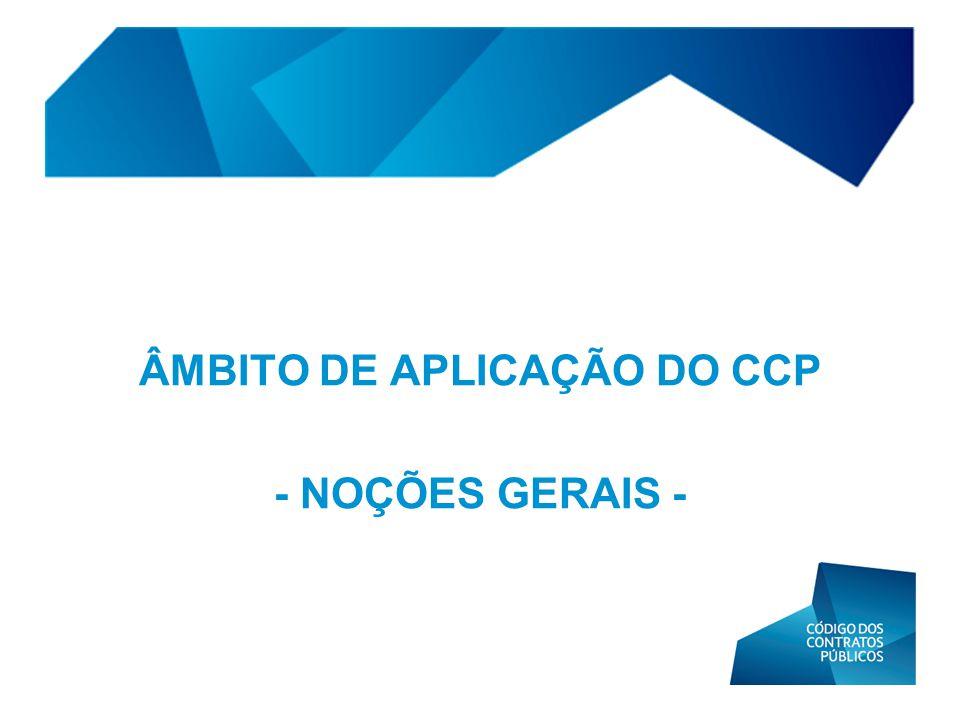 ÂMBITO DE APLICAÇÃO DO CCP - NOÇÕES GERAIS -