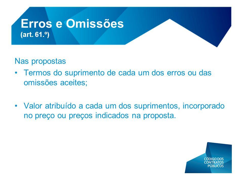 Nas propostas •Termos do suprimento de cada um dos erros ou das omissões aceites; •Valor atribuído a cada um dos suprimentos, incorporado no preço ou