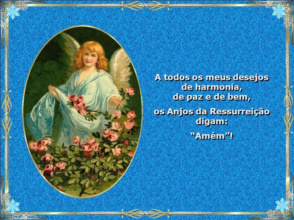 A todos os meus desejos de harmonia, de paz e de bem, os Anjos da Ressurreição digam: Amém .