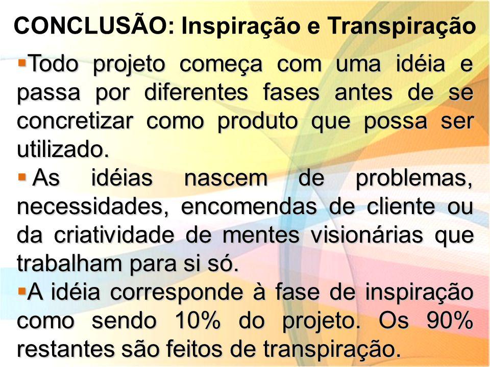 CONCLUSÃO: Inspiração e Transpiração  Todo projeto começa com uma idéia e passa por diferentes fases antes de se concretizar como produto que possa s