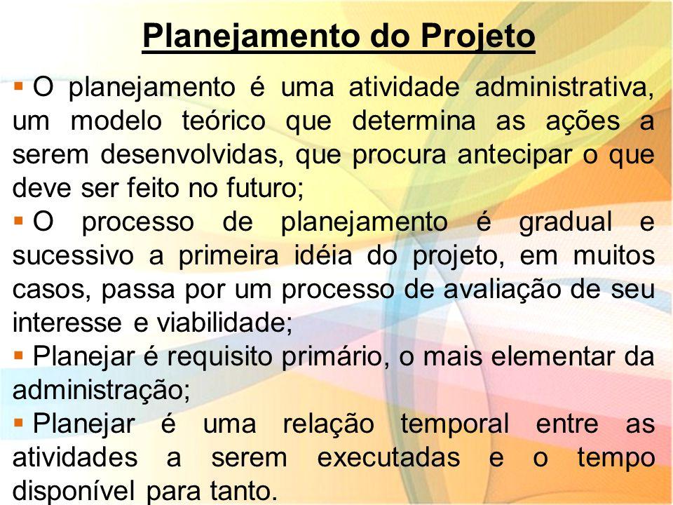 Planejamento do Projeto  O planejamento é uma atividade administrativa, um modelo teórico que determina as ações a serem desenvolvidas, que procura a