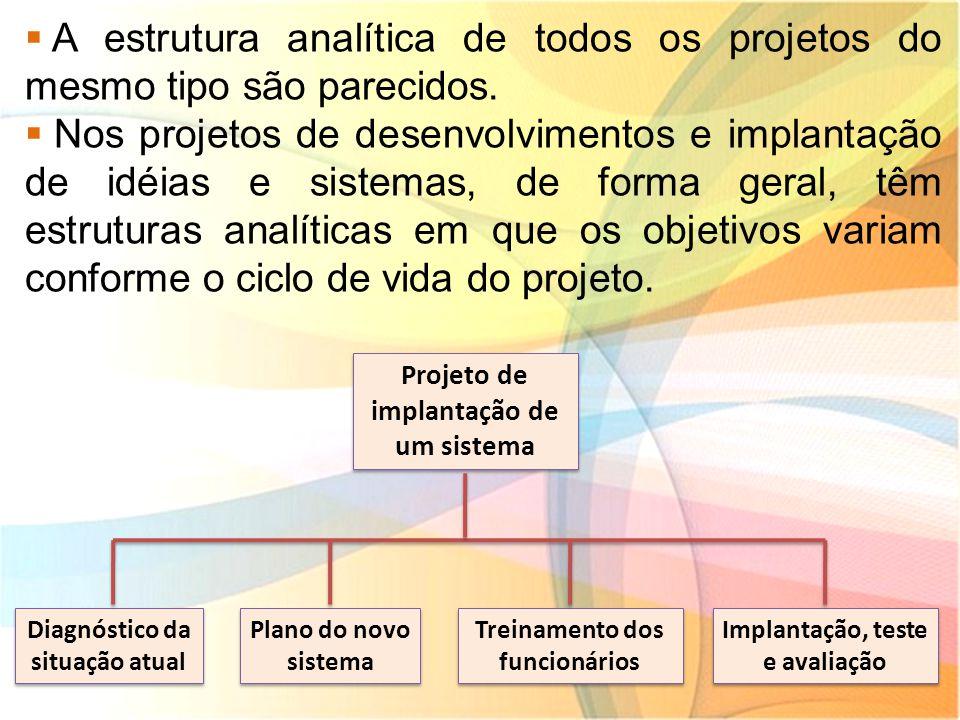  A estrutura analítica de todos os projetos do mesmo tipo são parecidos.  Nos projetos de desenvolvimentos e implantação de idéias e sistemas, de fo