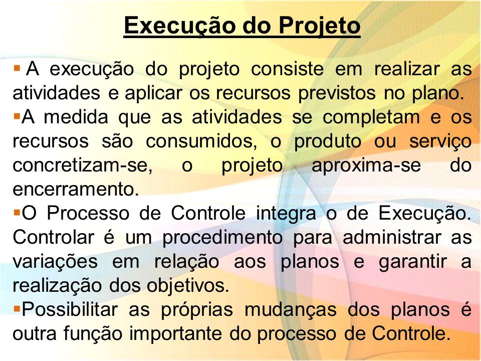 Execução do Projeto  A execução do projeto consiste em realizar as atividades e aplicar os recursos previstos no plano.  A medida que as atividades