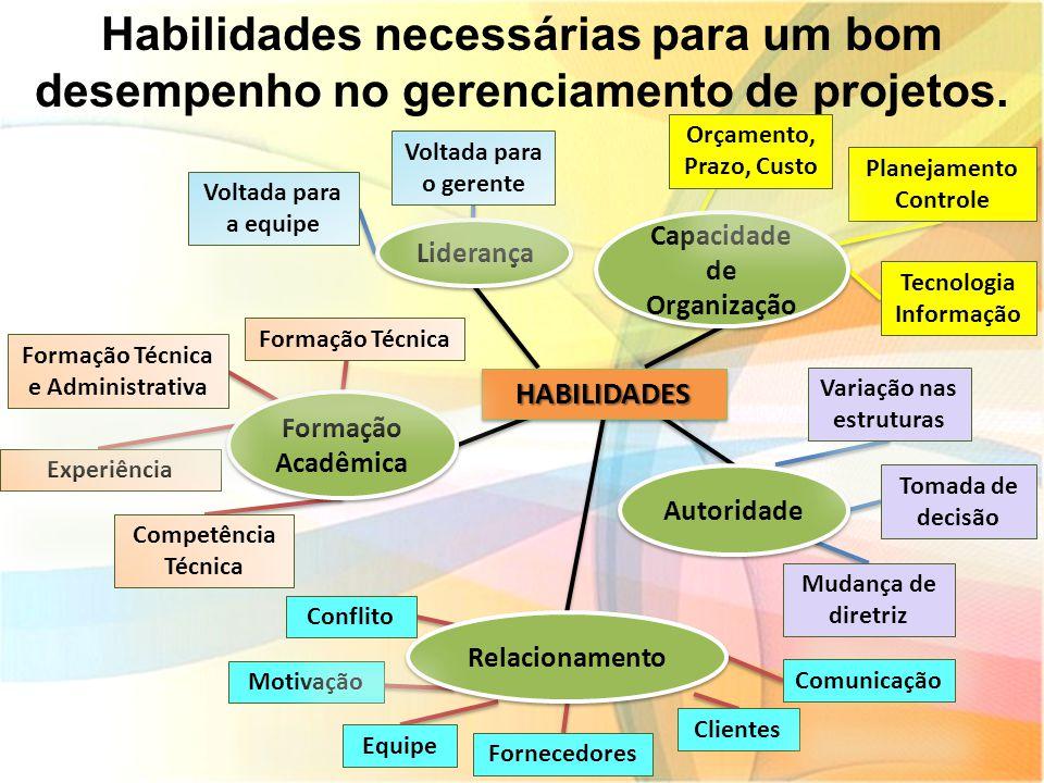 Habilidades necessárias para um bom desempenho no gerenciamento de projetos.HABILIDADESHABILIDADES Liderança Capacidade de Organização Autoridade Rela