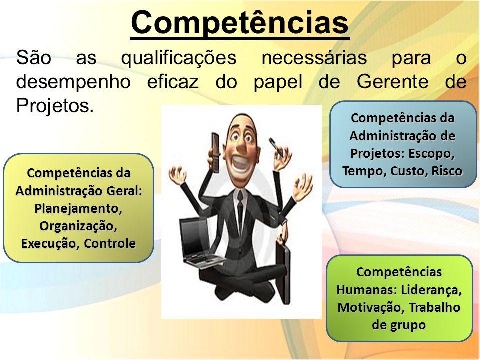 Competências São as qualificações necessárias para o desempenho eficaz do papel de Gerente de Projetos. Competências da Administração Geral: Planejame