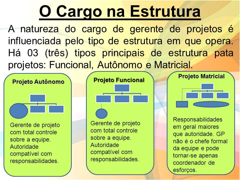 O Cargo na Estrutura A natureza do cargo de gerente de projetos é influenciada pelo tipo de estrutura em que opera. Há 03 (três) tipos principais de e