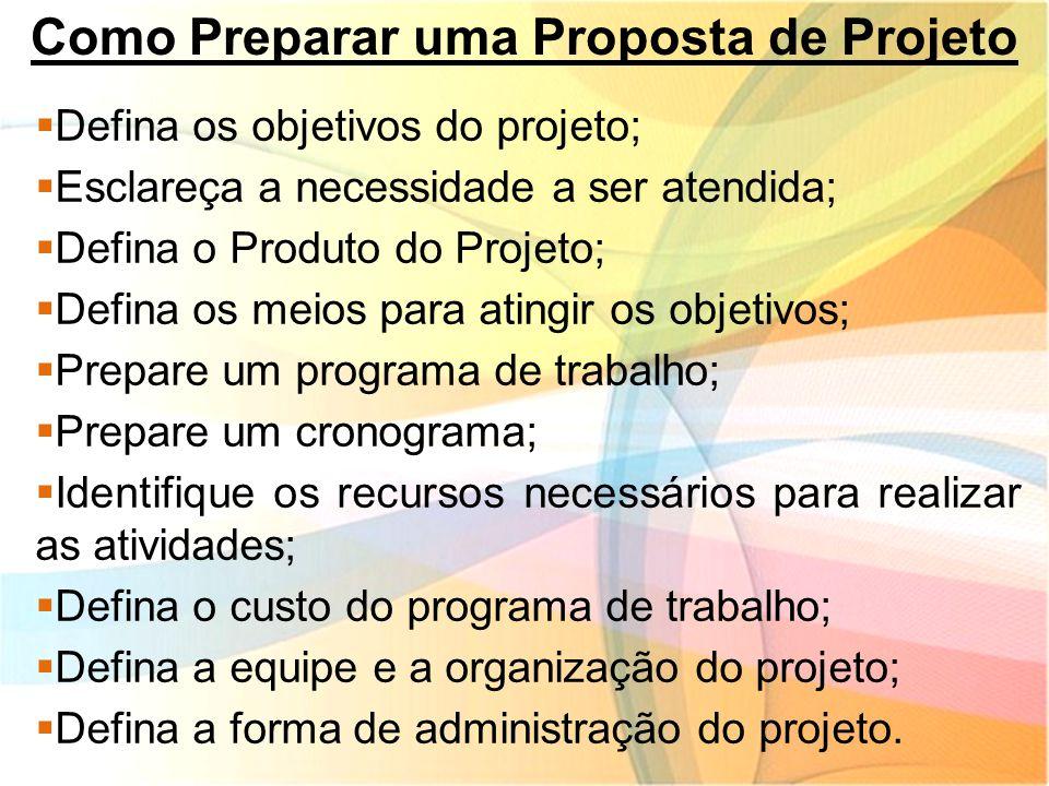 Como Preparar uma Proposta de Projeto  Defina os objetivos do projeto;  Esclareça a necessidade a ser atendida;  Defina o Produto do Projeto;  Def