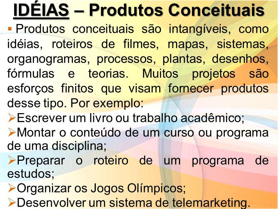 IDÉIAS – Produtos Conceituais  Produtos conceituais são intangíveis, como idéias, roteiros de filmes, mapas, sistemas, organogramas, processos, plant