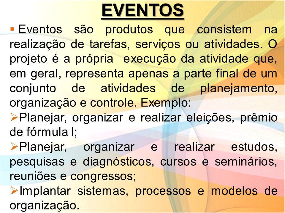 EVENTOS  Eventos são produtos que consistem na realização de tarefas, serviços ou atividades. O projeto é a própria execução da atividade que, em ger