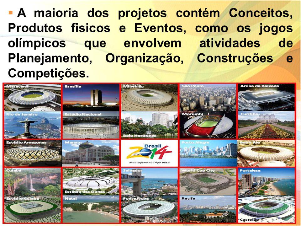  A maioria dos projetos contém Conceitos, Produtos fisicos e Eventos, como os jogos olímpicos que envolvem atividades de Planejamento, Organização, C