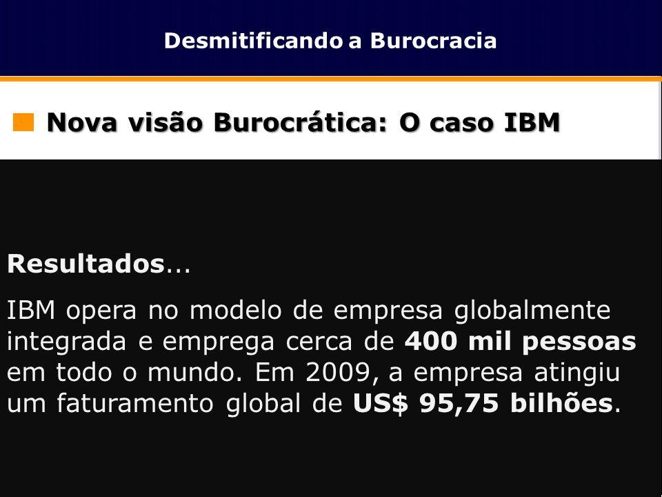 Desmitificando a Burocracia Nova visão Burocrática: O caso IBM  Saem as commodities (segmentos de PCs e Impressoras)  Amplia-se os investimentos em