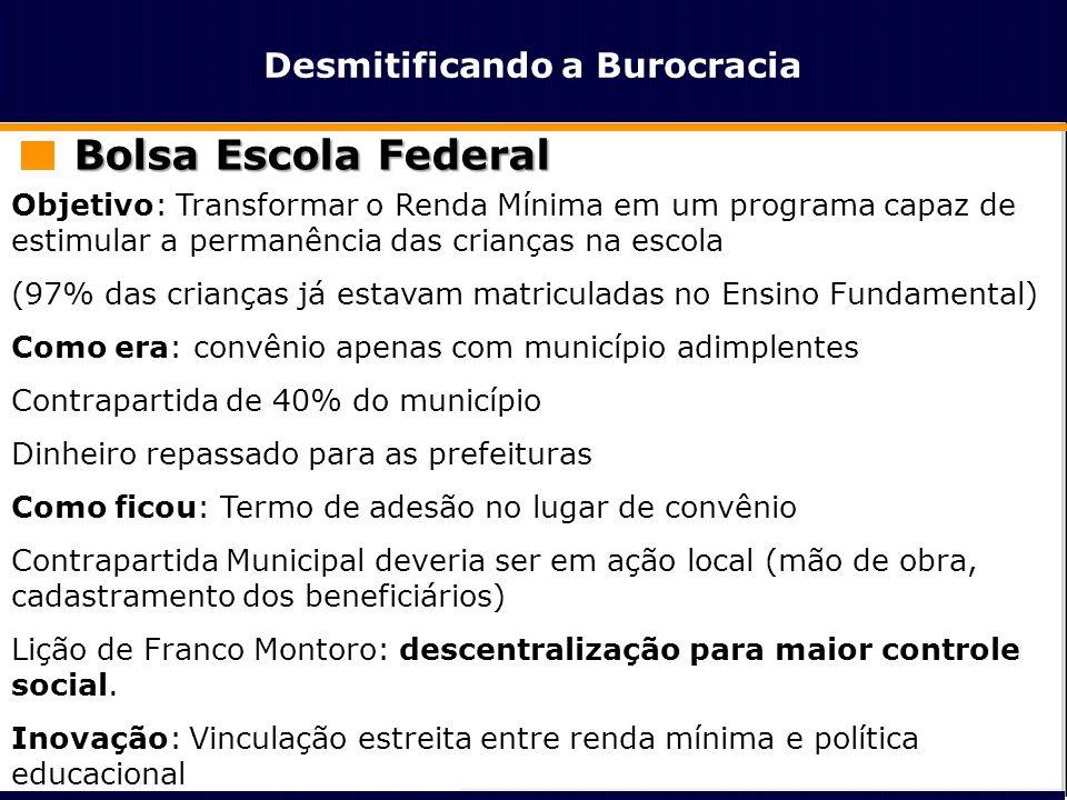Desmitificando a Burocracia Bolsa Escola Federal Objetivo: Transformar o Renda Mínima em um programa capaz de estimular a permanência das crianças na