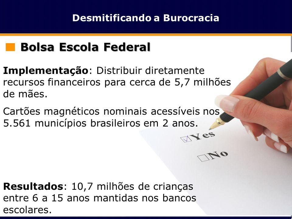 Desmitificando a Burocracia Bolsa Escola Federal Implementação: Distribuir diretamente recursos financeiros para cerca de 5,7 milhões de mães. Cartões
