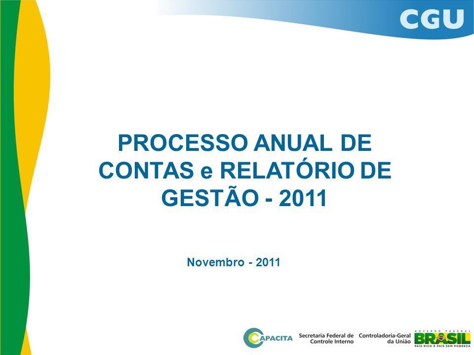 PROCESSO ANUAL DE CONTAS e RELATÓRIO DE GESTÃO - 2011 Novembro - 2011