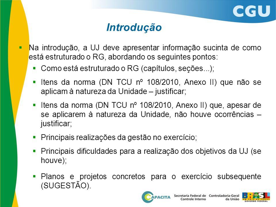  Na introdução, a UJ deve apresentar informação sucinta de como está estruturado o RG, abordando os seguintes pontos:  Como está estruturado o RG (c