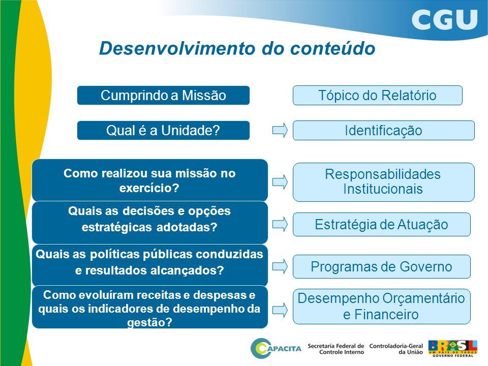 Desenvolvimento do conteúdo Cumprindo a Missão Qual é a Unidade? Como realizou sua missão no exercício? Quais as decisões e opções estratégicas adotad