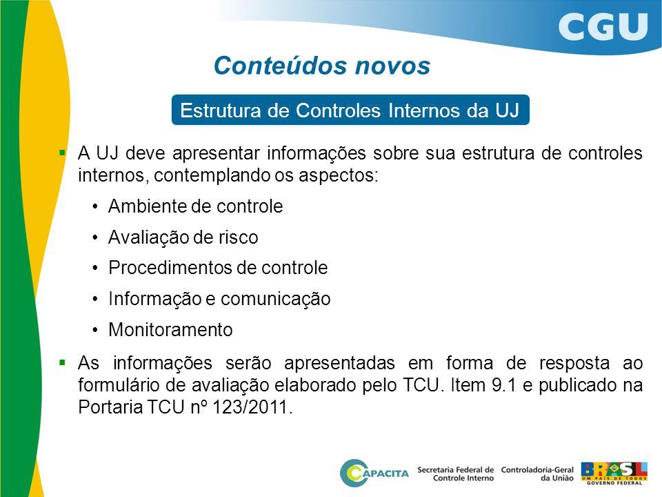  A UJ deve apresentar informações sobre sua estrutura de controles internos, contemplando os aspectos: •Ambiente de controle •Avaliação de risco •Pro