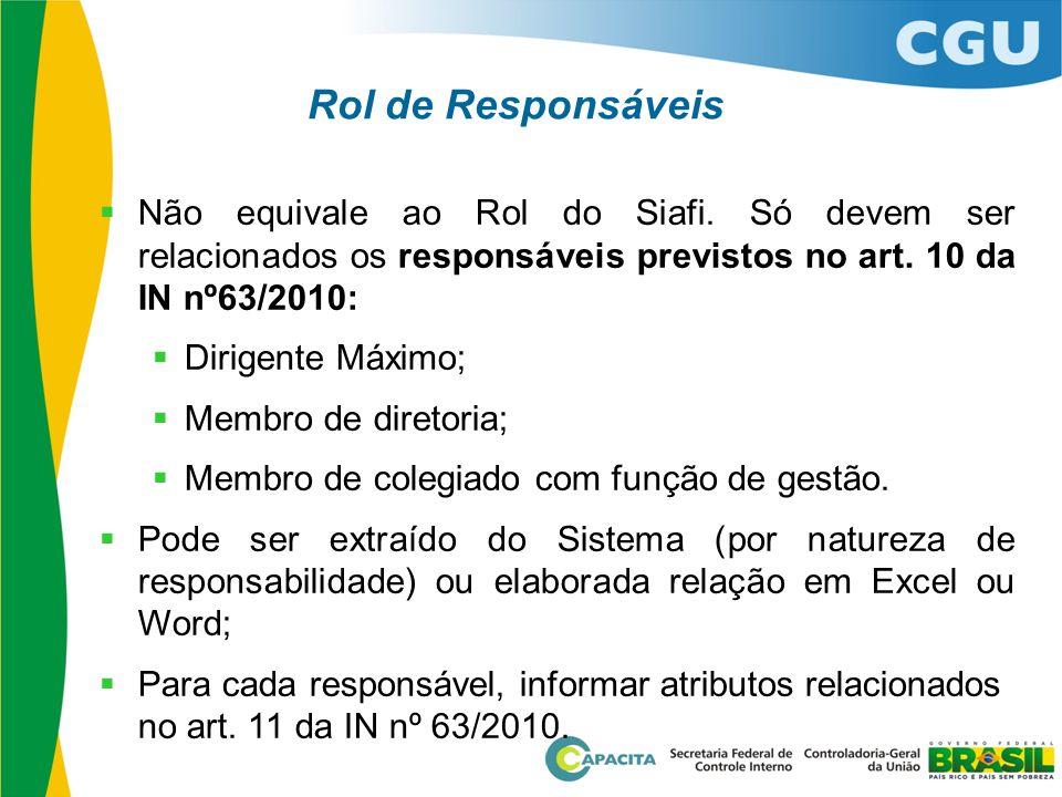 Rol de Responsáveis  Não equivale ao Rol do Siafi. Só devem ser relacionados os responsáveis previstos no art. 10 da IN nº63/2010:  Dirigente Máximo