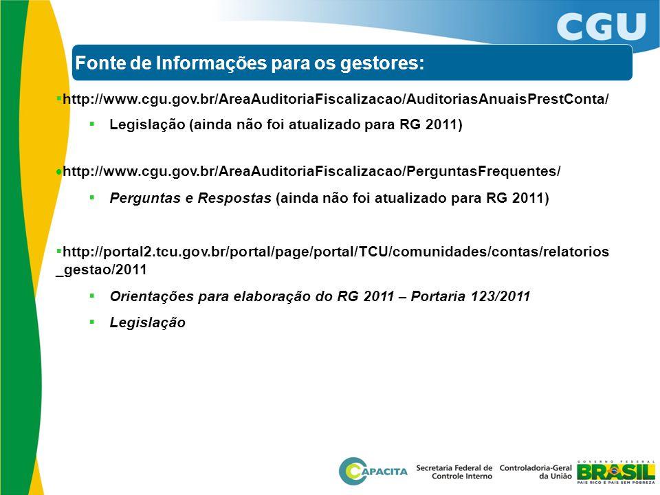 Fonte de Informações para os gestores:  http://www.cgu.gov.br/AreaAuditoriaFiscalizacao/AuditoriasAnuaisPrestConta/  Legislação (ainda não foi atual