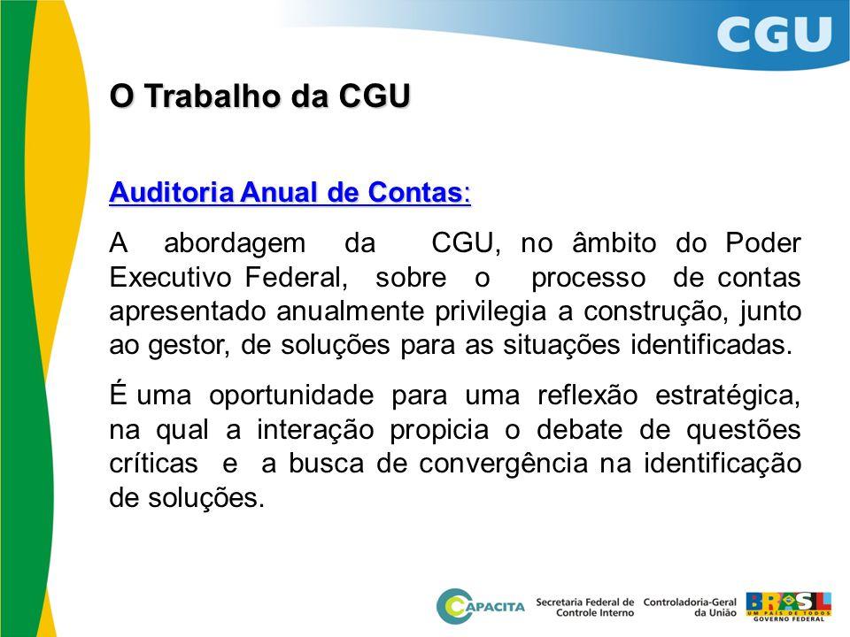 Auditoria Anual de Contas: A abordagem da CGU, no âmbito do Poder Executivo Federal, sobre o processo de contas apresentado anualmente privilegia a co