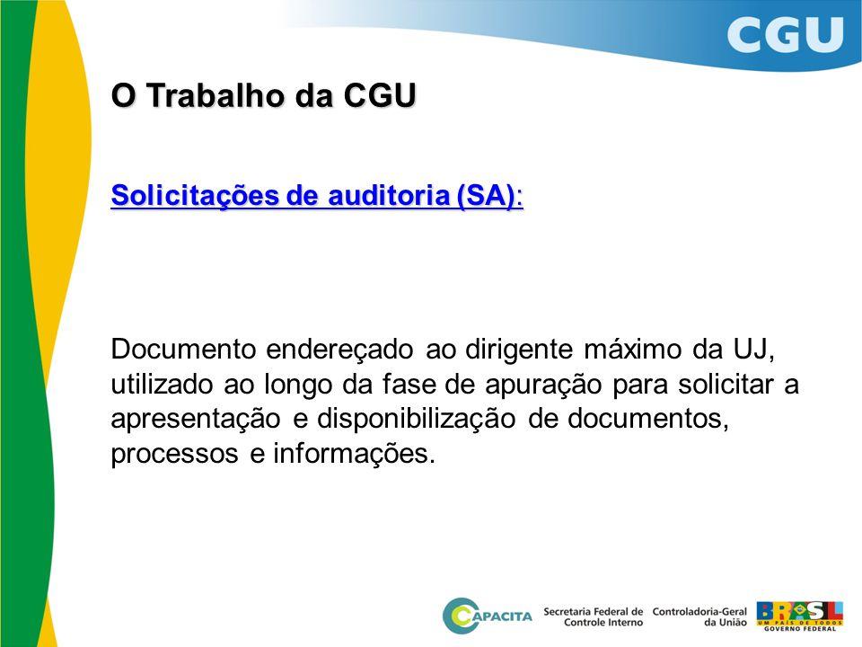 Solicitações de auditoria (SA): Documento endereçado ao dirigente máximo da UJ, utilizado ao longo da fase de apuração para solicitar a apresentação e