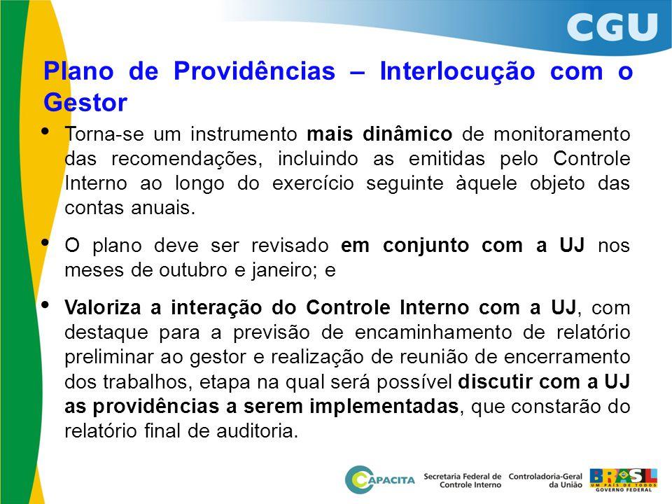 Plano de Providências – Interlocução com o Gestor • Torna-se um instrumento mais dinâmico de monitoramento das recomendações, incluindo as emitidas pe