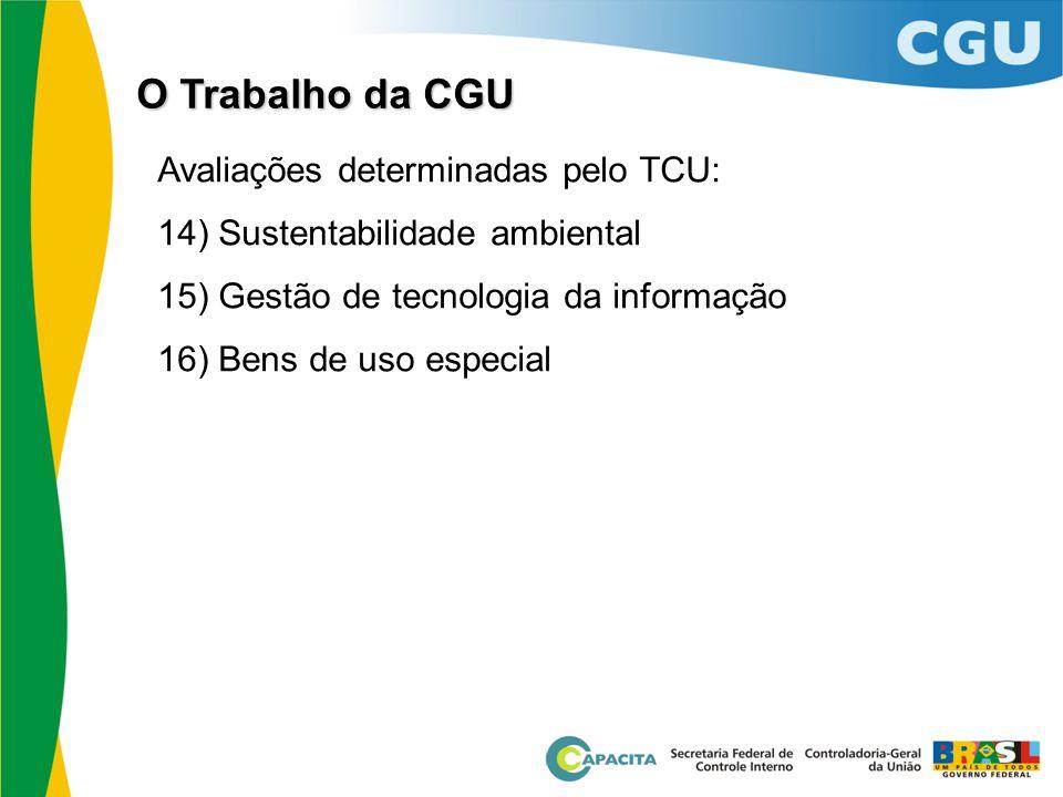Avaliações determinadas pelo TCU: 14) Sustentabilidade ambiental 15) Gestão de tecnologia da informação 16) Bens de uso especial O Trabalho da CGU