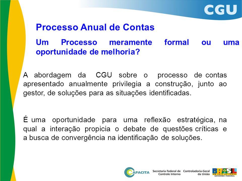 Processo Anual de Contas Um Processo meramente formal ou uma oportunidade de melhoria? A abordagem da CGU sobre o processo de contas apresentado anual