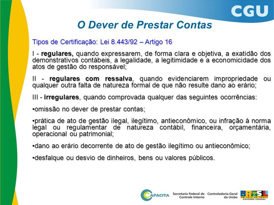 O Dever de Prestar Contas Tipos de Certificação: Lei 8.443/92 – Artigo 16 I - regulares, quando expressarem, de forma clara e objetiva, a exatidão dos