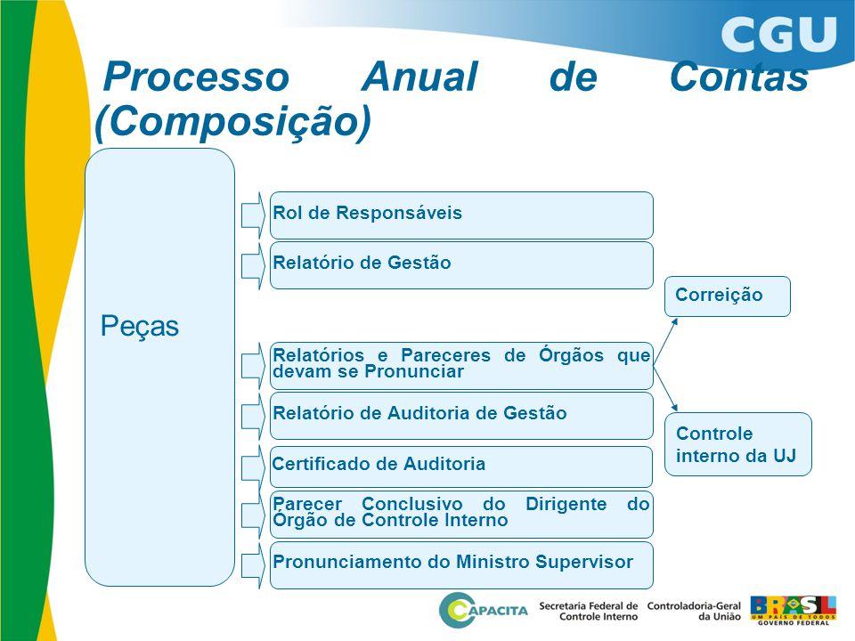 Peças Processo Anual de Contas (Composição) Rol de Responsáveis Relatório de Gestão Relatórios e Pareceres de Órgãos que devam se Pronunciar Relatório