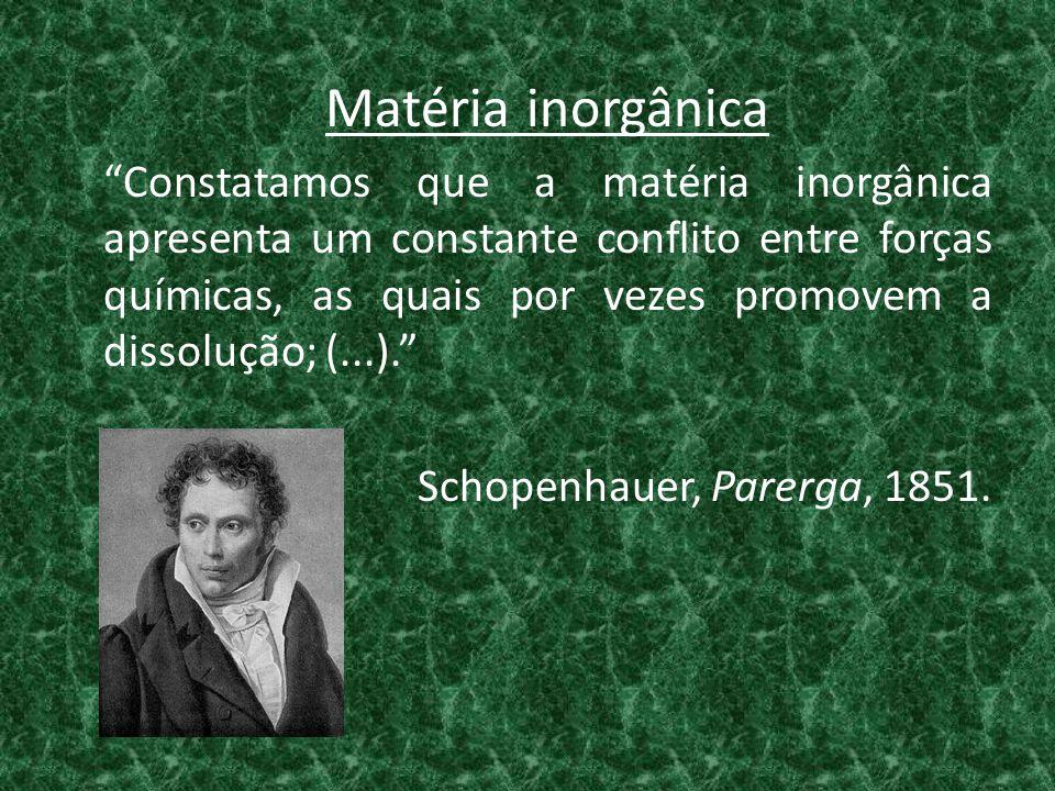 Matéria inorgânica Constatamos que a matéria inorgânica apresenta um constante conflito entre forças químicas, as quais por vezes promovem a dissolução; (...). Schopenhauer, Parerga, 1851.