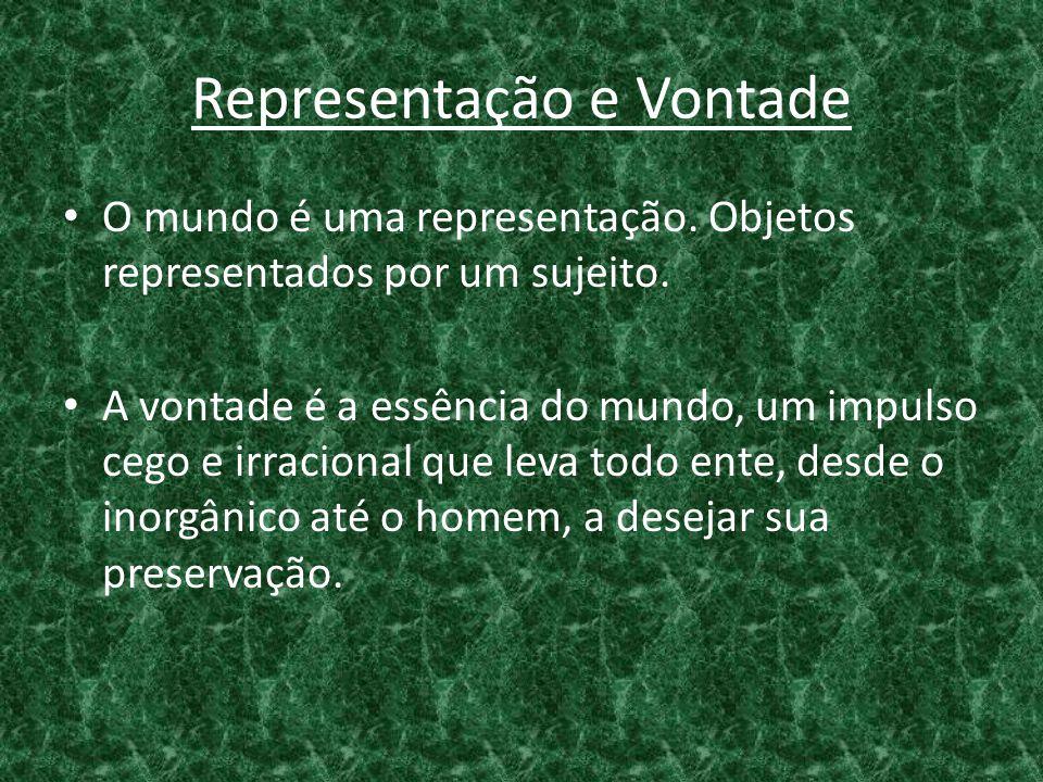 Representação e Vontade • O mundo é uma representação. Objetos representados por um sujeito. • A vontade é a essência do mundo, um impulso cego e irra