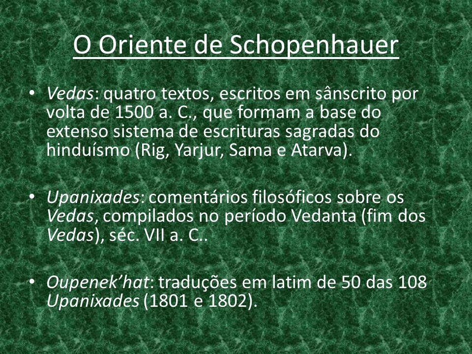 O Oriente de Schopenhauer • Vedas: quatro textos, escritos em sânscrito por volta de 1500 a. C., que formam a base do extenso sistema de escrituras sa
