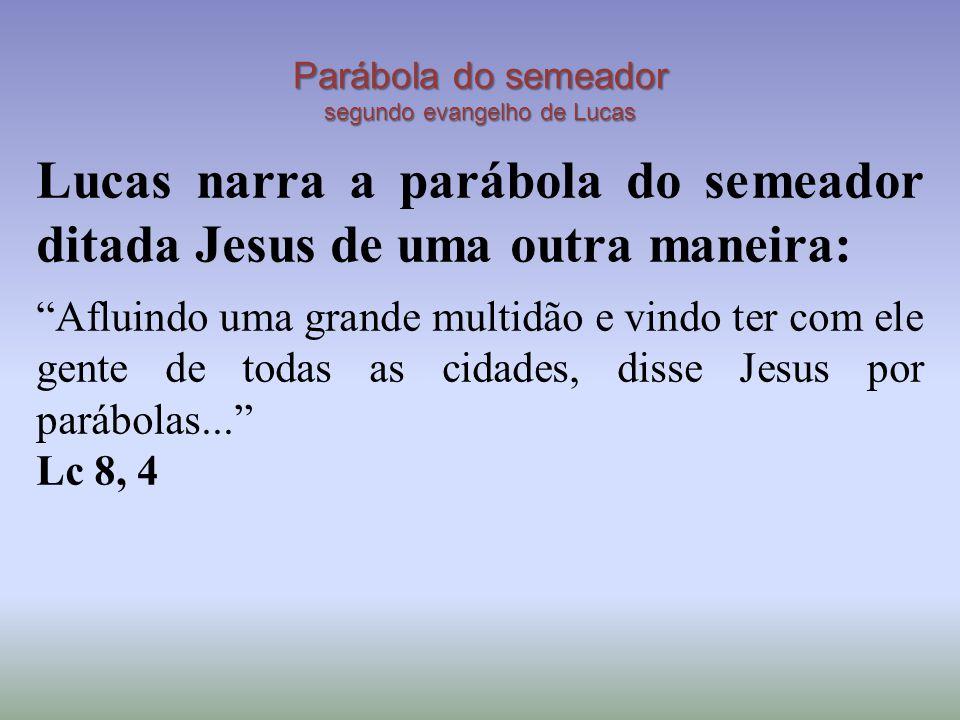 """Parábola do semeador segundo evangelho de Lucas Lucas narra a parábola do semeador ditada Jesus de uma outra maneira: """"Afluindo uma grande multidão e"""