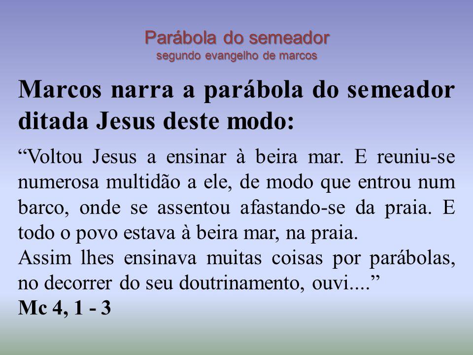 Parábola do semeador segundo evangelho de marcos Marcos narra a parábola do semeador ditada Jesus deste modo: Voltou Jesus a ensinar à beira mar.