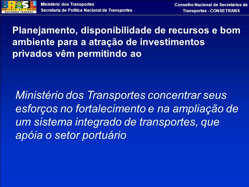 Ministério dos Transportes Secretaria de Política Nacional de Transportes Conselho Nacional de Secretários de Transportes - CONSETRANS Planejamento, d