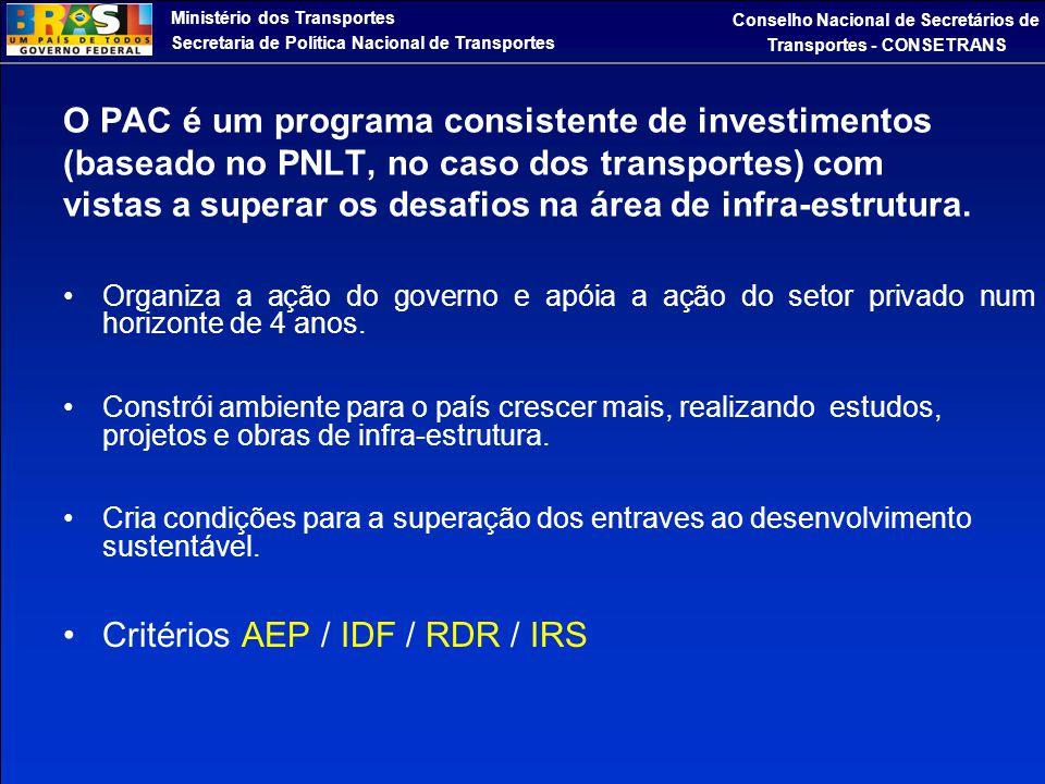 Ministério dos Transportes Secretaria de Política Nacional de Transportes Conselho Nacional de Secretários de Transportes - CONSETRANS O PAC é um prog