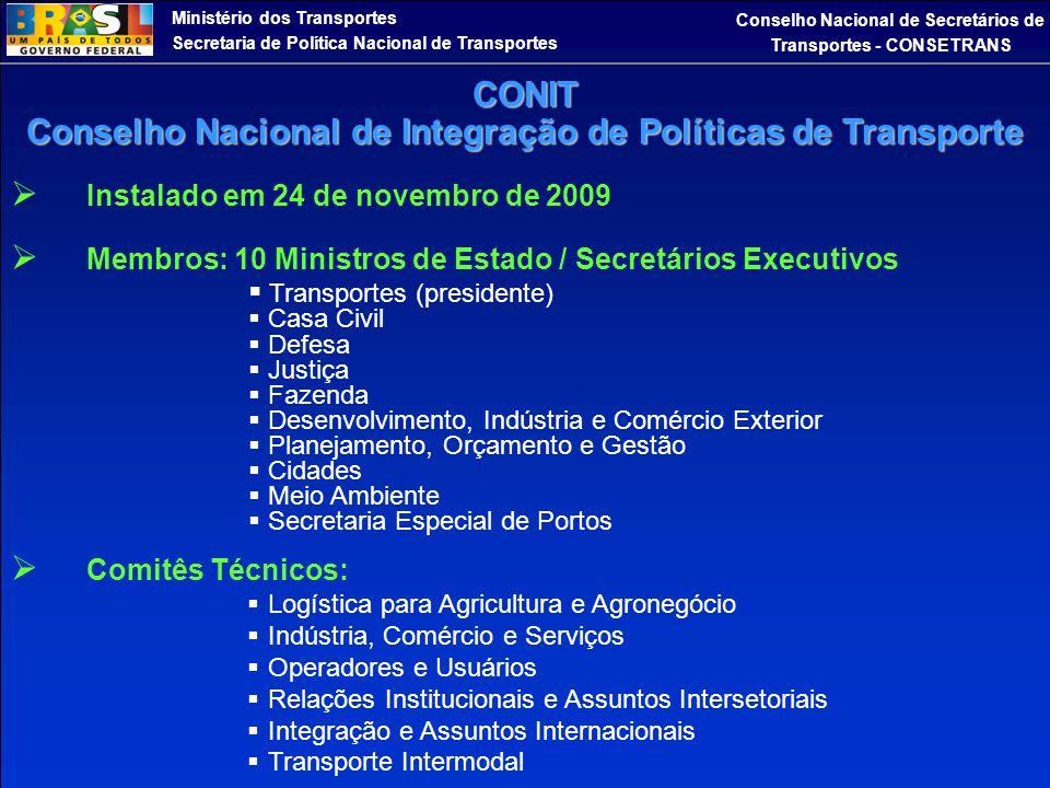 Ministério dos Transportes Secretaria de Política Nacional de Transportes Conselho Nacional de Secretários de Transportes - CONSETRANS  Instalado em
